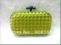 free shipping new top-quality 100% silk woven bag women fashion  evening clutch bag  green lady handbags