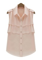 2013 Summer fashion sleeveless chiffon ladies shirts blouses for womens top casual style free shipping