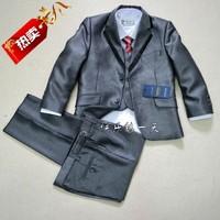 2013 New Fashion plain sliver grey six pcs boys wedding suit free shipping