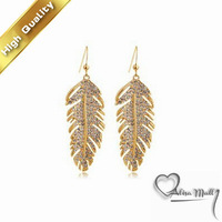 Free Shipping+2 Colors Gold Plated Love Feather Crystal Earrings With SWA Elements Austrian Crystal Fit For The Evening Dress