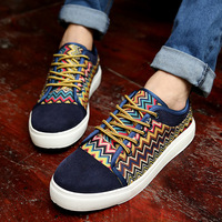 Free shipping color block decoration skateboarding shoes fashion national trend nubuck leather men's shoes sneakers