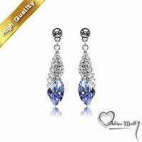 Free Shipping+19 Colors Gold Plated Desert Light Crystal Earrings With SWA Elements Austrian Crystal Fit For The Evening Dress