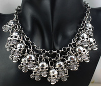 Free shipping hot Antique lots of skull Jewelry Bib Chunky Statement Fashion Necklace