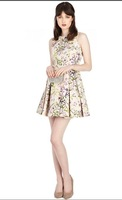 2013 women's o-neck sleeveless print slim british style dress one-piece dress 3300