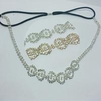 10pcs women fashion rhinestone Elastic headband gold silver colors grace blingbling style Hair chain headwear