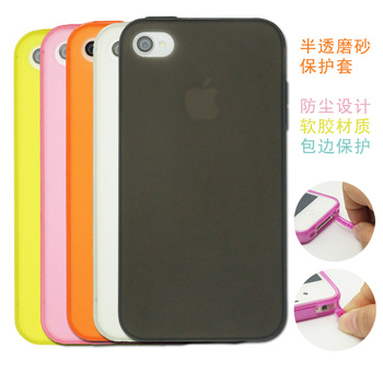 For iphone  4 phone case  for apple   4s set of clean water scrub silica gel sets ipone with dust plug tpu soft shell