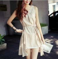 2013 gentlewomen elegant vintage sleeveless elegant noble elegant solid color chiffon one-piece dress
