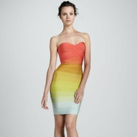 2013 Orange Gradually Shift Color Off Shoulder Women Summer Dress Designer Stripes Sexy Open Back Evening Party Clubwear