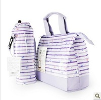 fashion Travel Picnic Lunch Dinner Food stripe Bag/Insulated Ice Cooler Outdoor bottle/can/ wine lunch box tote storage bags