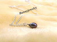 "Min.order is $10(mix order) Free shipping! Natural 8mm Black Teardrop Pearl Necklace 18"" Silver Plated Chain Fit Gift"