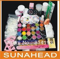 Free Shipping Full 25 Nail Art Acrylic Powder Primer Glitte Liquid TIP Brush Glue Dust KITS