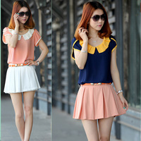 Women's 2013 summer lace chiffon top plus size peter pan collar female chiffon shirt short-sleeve