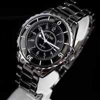 Women Girls Vogue Black Sports Stainless Steel Quartz Gift Wristwatch Big Size