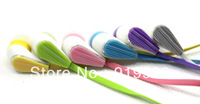 Free Shipping (5 Pieces/Lot) 3.5mm In-ear Color Stripe Earphone Earpiece Headphone With Mic For Iphone Sony Samsung