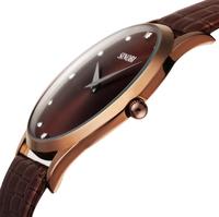 Mens Luxury Wristwatch Croc Embossing Brown Leather Quartz Fashion Casual Watch