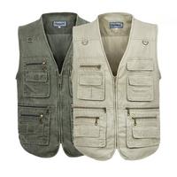 2013 quinquagenarian clothes Men zipper V-neck vest multi-pocket vest plus size commercial vest