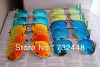 Men's/Women's sunglasses colorful lens and Metallic glasses legs Glass lenses With the case and accessories RB 3025 sunglasses