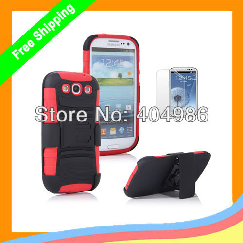 For Samsung Galaxy S3 Cases Hybrid Impact Dual Layer Case for Galaxy S III 3 i9300 Clip Phone Case Free Shipping(China (Mainland))