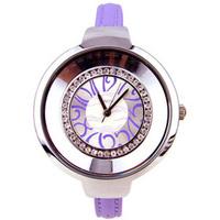 5 Colors Elegant Thin Leather Women Lady Shinning Rhinestones Wrist Watch Gifts