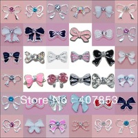 Wholesale Fashion 3D BOW Tie Shape Metal Nail Art Decoration 100pcs/lot Cellphone Rhinestone Glitters Free Shipping