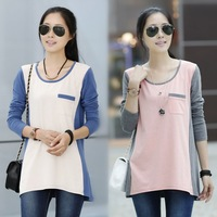 2013 Autumn New Style Long Sleeve Loose Textile Patchwork Cotton Irregular Novelty Plus Size T Shirt For Women Pink Blue