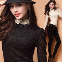 2013 New Arrival Autumn Fashion Long Sleeve Fur Collar Lace Bowknot Slim Fit Sexy Flower Shirts For Womens Black Apricot