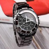New Fashion Black Stainless Steel Band Women Lady Quartz Casual Wrist watch