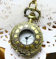 Classic Small Portable Brass Round Pendant Pocket Quartz Watch Necklace