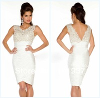 61388D Custom Made Sexy White Gorgeous Cap Sleeves Sheath Ruffle Prom Dresses Short 2013