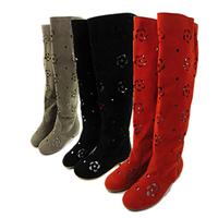 2014 high-leg cutout boots summer boots goatswool scrub boots tall boots women's flat shoes