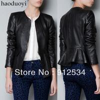 autumn women's coat patchwork collarless slim leather jacket lady leather clothing free shipping