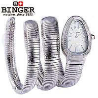 Binger accusative case watch rhinestone table serpiform table ladies watch white series watch snake shape watch free shipping