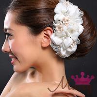 Super marry wedding decoration bridal hair accessory beige formal dress cul-de-lampe lace