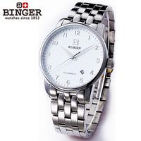 Nice Binger accusative case watch mechanical watch stainless steel mens watch series steel white digital