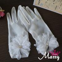 Tulle bridal gloves flower gloves romantic wedding formal dress gloves hot-selling