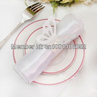 Free Shipping-50pcs High Quality White Paper Butterfly Napkin Rings Wedding Bridal Shower Napkin holder-Sample Order