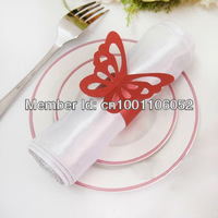 Free Shipping-50pcs High Quality RED Paper Butterfly Napkin Rings Wedding Bridal Shower Napkin holder-Sample Order