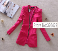 2013 autumn and winter New Arrival women tops outerwear  Korean style candy colour V neck zipper  Jacket coat blazer
