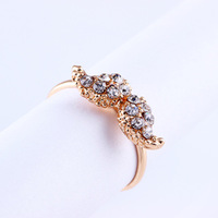 Free shipping Retail Fashion full rhinestone ring finger ring opening