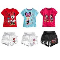 FREE SHIPPING 5sets/ lot  children clothing boy cartoon summer clothing kids Minnie mous mickey shirt  + shorts 1-6years