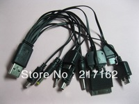 1 Set USB to 10 DC Power Plug Charger Adapter Cable for Mobile Use Black Kit HOT Sale High Quality