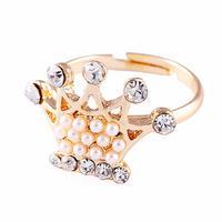 Free shipping Retail Fashion romantic pearl rhinestone ring finger ring opening birthday gift