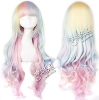 Wholesaler 80cm lolita culy wave long cosplay costume wig.Free shipping