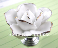 hand made ceramic white rose knob with silver chrome base flower knob cabinet pull kitchen cupboard knob kids drawer knobs MG-18