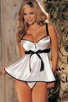 Fashion sexy white spaghetti strap bow sleepwear dress thong 2635