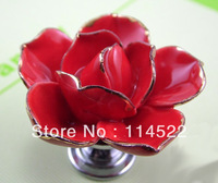 hand made ceramic red rose knobs with silver chrome base flower knob cabinet pull kitchen cupboard knob kids drawer knobs MG-18