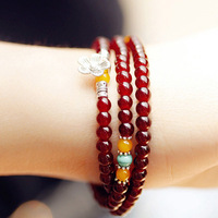 Free shipping more than $15+gift natural stone beads bracelet antique silver national trend layer small flower gift