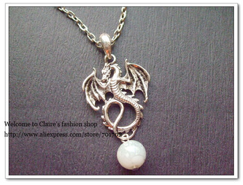 Free shipping 20pcs 17inches Silver-plated Charms Bead Fly Dragon Animal Retro Pendant Vintage Long Necklace Chain Necklace 2013
