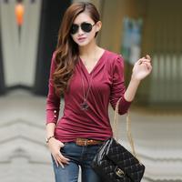 2013 spring and autumn fashion slim low collar loose long-sleeve T-shirt women's basic shirt m324