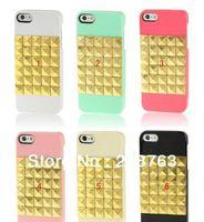 Wholesale - 20pcs/lot Golden Diamond Rivet Style Plastic Protective Case for iPhone 5   free shipping
